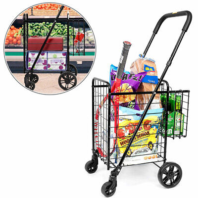 Grocery Shopping Cart Folding Trolley Toys Utility Storage Durable Large Basket