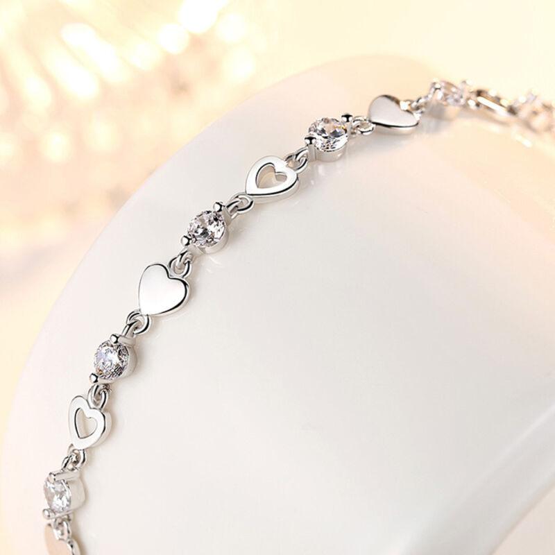Women's 925 Sterling Silver Zircon Love Heart Infinity Charm