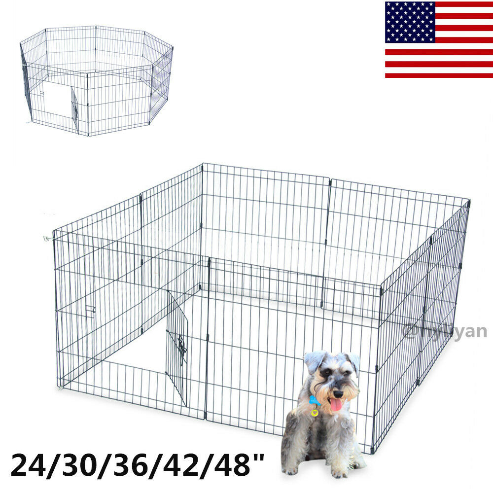 "24/30/36/42/48"" Tall Dog Playpen Crate Fence Pet Play Pen Ex"