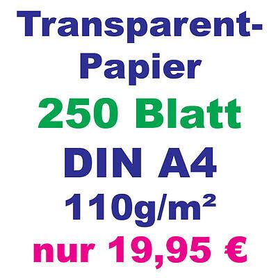 250 Blatt Transparentpapier DIN A4 110g weiß 210x297mm Pergamentapier bedruckbar