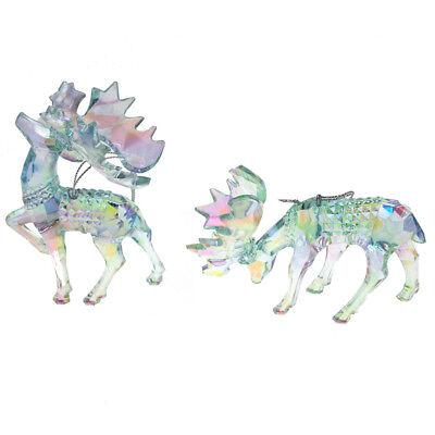 Acrylic Glass Moose Christmas Tree Ornaments, Blue, 5.3-Inch, 2-Piece - Moose Christmas Ornaments