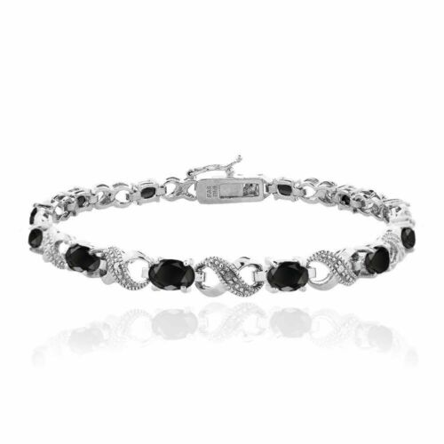 7.8ct Sapphire & Crystal Infinity Bracelet in 18K White Gold Plated