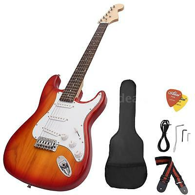ST Electric Guitar Basswood Body Rosewood Fingerboard with Gig Bag Strap Red