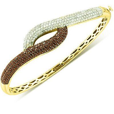 2.53 CT 14k Yellow Gold White & Brown Diamond Ladies Fashion Bangle Bracelet