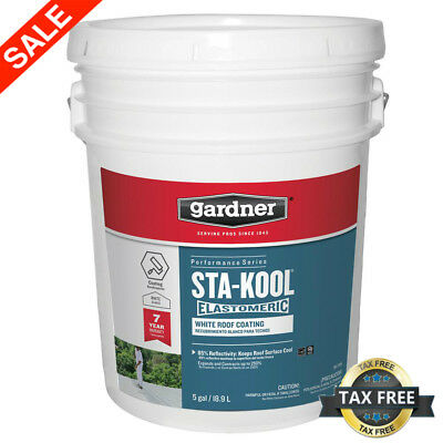 Elastomeric Roof Coating 5 Gal Uv Protection Liquid Rubber Cooling Paintwhite