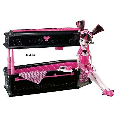 Monster High DEAD TIRED Draculaura Doll + JEWELRY BOX Coffin Bed Furniture Set! - Monster High Sets