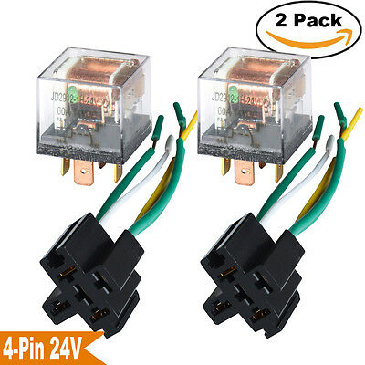 2 Pcs Auto Relay 12v 60a 60 Amp Wired Socket 4-pin Spst Relays Waterproof Usa