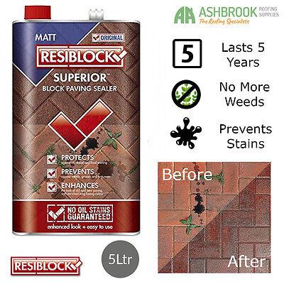 Resiblock Superior Block Paving Patio Sealer | Bond Jointing | Matt | 5ltr