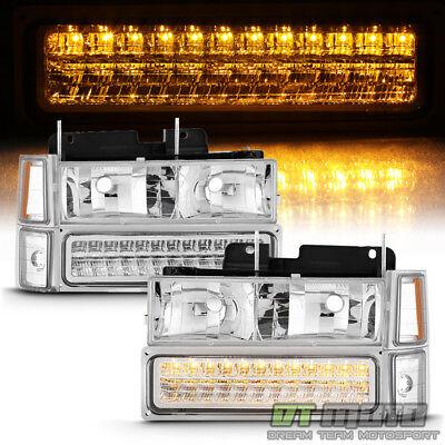 8PC 1994-1999 Chevy Silverado Tahoe Suburban Headlights +LED Bumper+Signal Light
