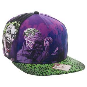DC COMICS THE JOKER HAHAHA SUBLIMATED ALL OVER PRINT SNAPBACK HAT CAP BATMAN NWT