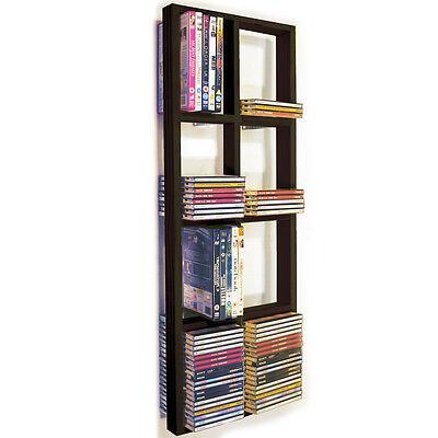IRIS -DOPPIA da parete CD/DVD/BLU RAY Scaffale per magazzinaggio NERA/Marrone