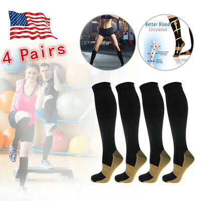 4 Pairs Copper Fit Energy Knee High Compression Socks, SM L/XL XXL Free Ship USA