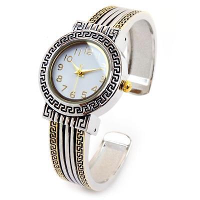 2Tone Designer Style Luxury Women's Fashion Bangle Cuff Watch Look Fashion Cuff Watch