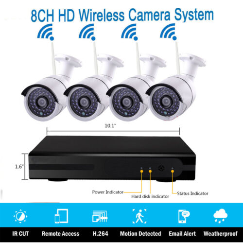 Wireless 8CH 1080P NVR 4x IR Night Vision WIFI Camera Home C