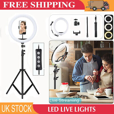 12'' LED Ring Light Dimmable Lighting Kit Phone Selfie Tripod Stand Lamp Live UK