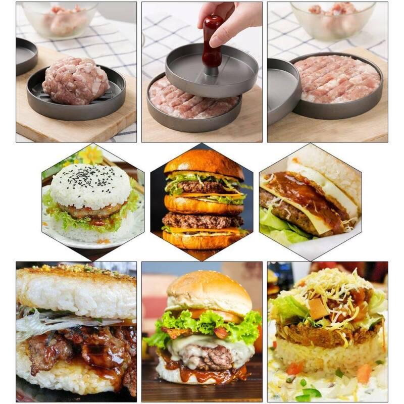 Non-Stick Hamburger Patty Press Aluminum Alloy Grill Burger Meat Maker Mold