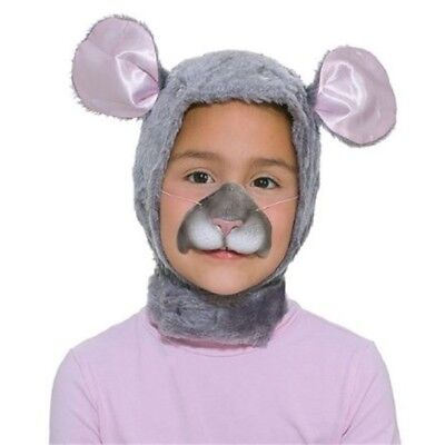 Grey Children's Mouse Hood & Nose Set - Fancy Dress Animal Costume Childrens - Costume Animal Noses
