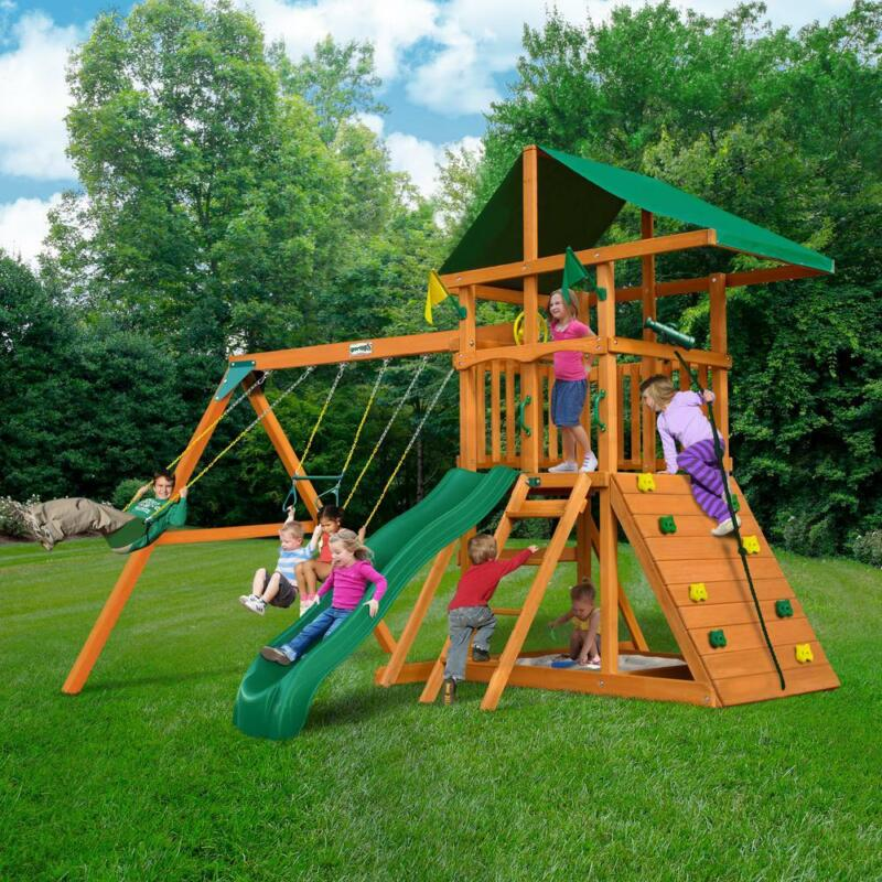 Wooden Swing Set with Rock Wall Slide Rope Playset Gym Sandb