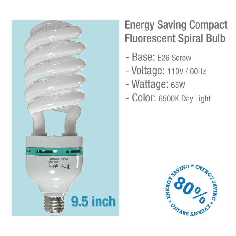 110V 65W 6500K E26 Based Photo Bulb Studio Video Photography Daylight Light Lamp