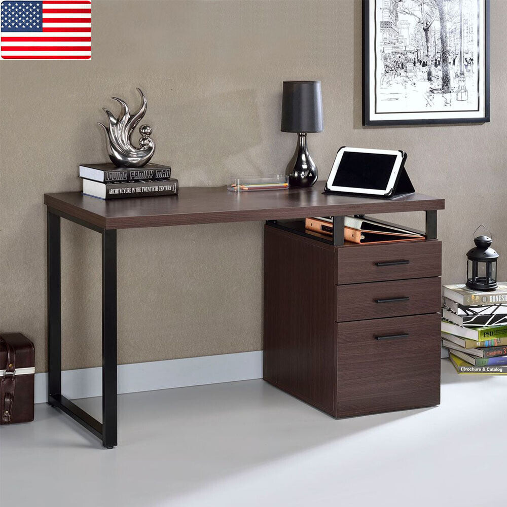 Computer Desk Laptop Table with Drawers Home Office Study Student Furniture Dark