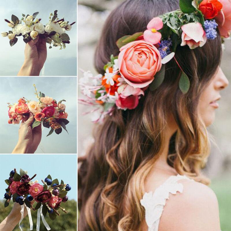 Beach Party Crown Flower Hairband Floral Headdress Bride Wed