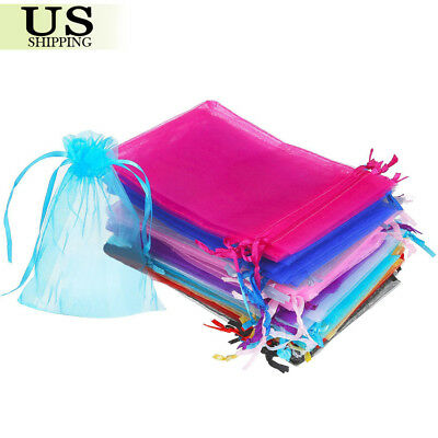100/200 Organza Gift Bags Wedding Favor Party Sheer Candy Bag Jewelry Pouches Bridal Party Gift Bags