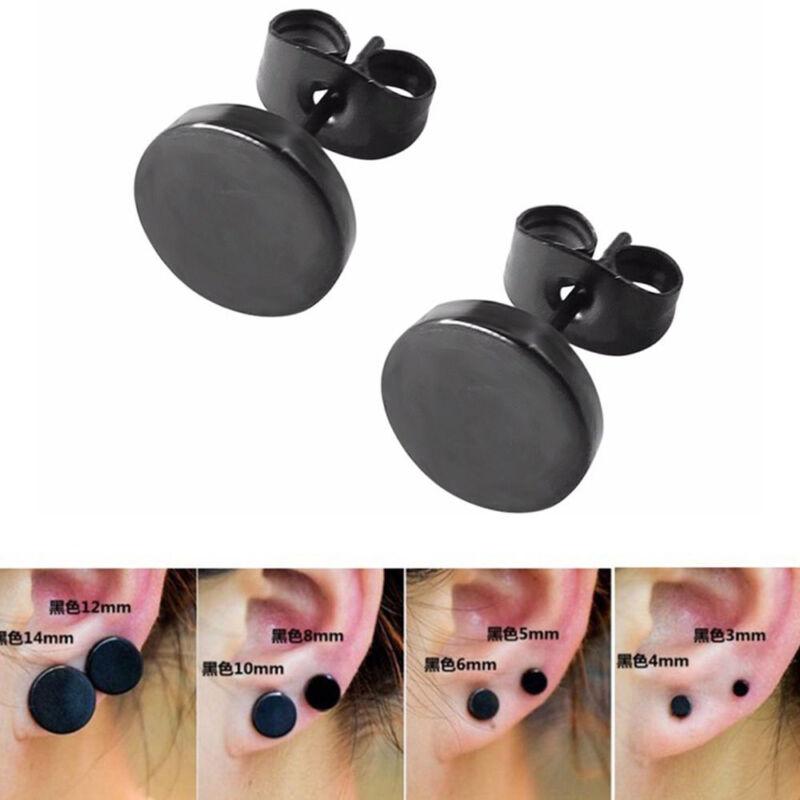 Fashion Women Men Black Round Shaped Earrings Stainless Stee
