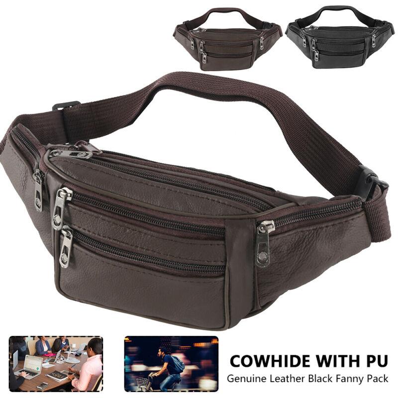 Fanny Pack Genuine Leather Black Waist Bag Hip Belt Pouch Tr