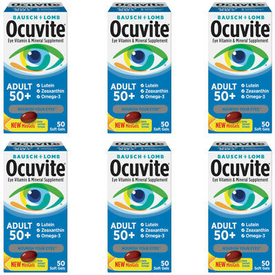 6 Pack Bausch + Lomb Ocuvite Adult 50+ Helps Protect Eye Health, 50 Soft Gels Ea segunda mano  Embacar hacia Argentina