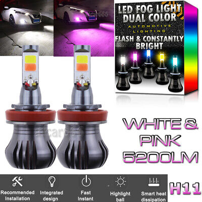 H11 H8 H9 H16 High Power Dual Color 2-Mode Flash LED Fog Light Bulb White