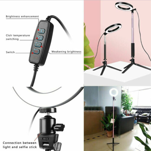 Dimmable LED Ring Light Kit with Stand For Makeup Live Video