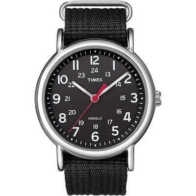 Timex T2N647,  Men's Weekender, Black Fabric Watch, Indiglo