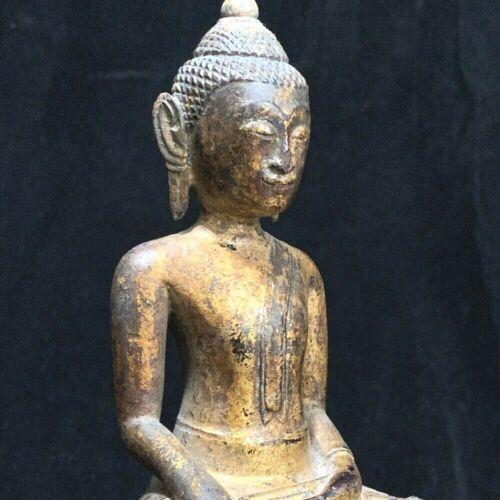 Antique Southeast Asia Thai Ayutthaya wooden Buddha on ornate throne 19th c