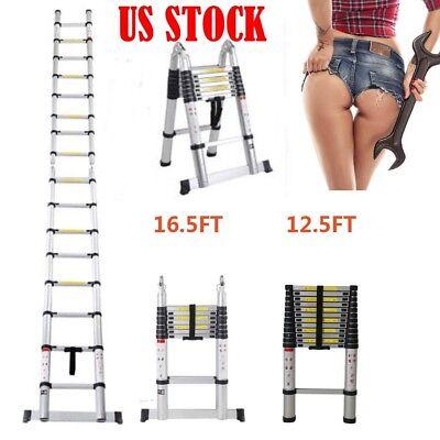 16.5ft Duty Aluminum Multi-purpose Extention Ladder Folding Telescopic A Frame