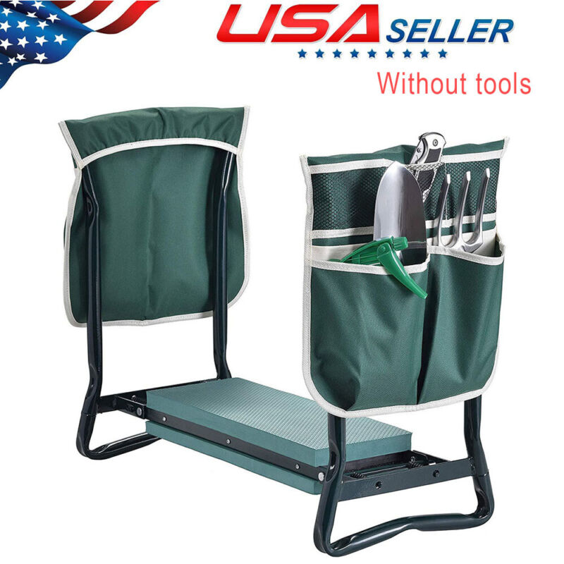 Folding Garden Kneeler Gardening Seat Bench Stool With 2 Large Pouch And Gloves