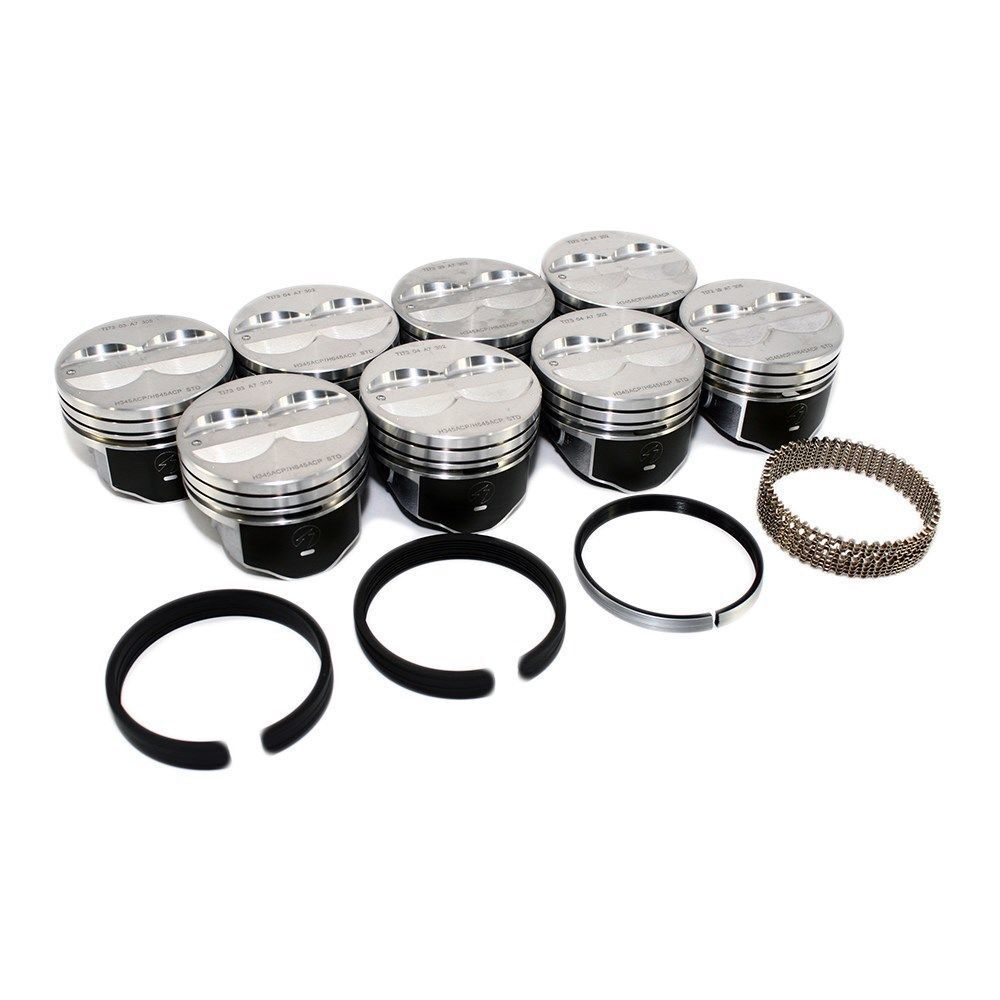 30 SPEED PRO Chevy 350 Hypereutectic Coated Skirt Flat Top Pistons Set//8 9.3:1