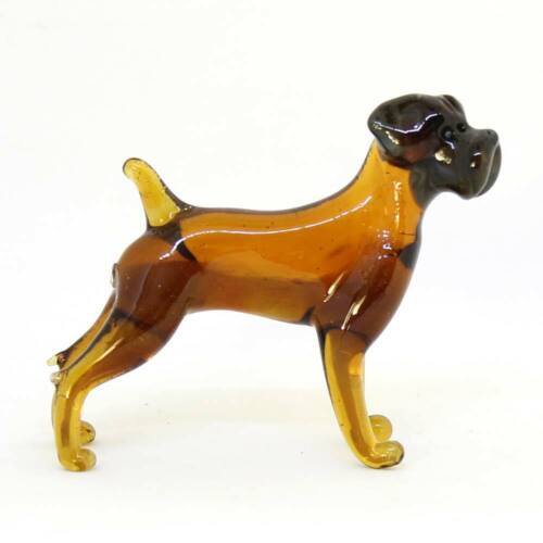 Middle Russian art glass figurine Dog - Boxer #152-5