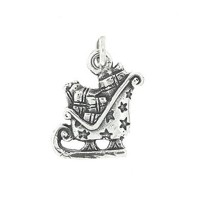 STERLING SILVER SANTA'S SLED WITH PRESENTS CHARM OR PENDANT