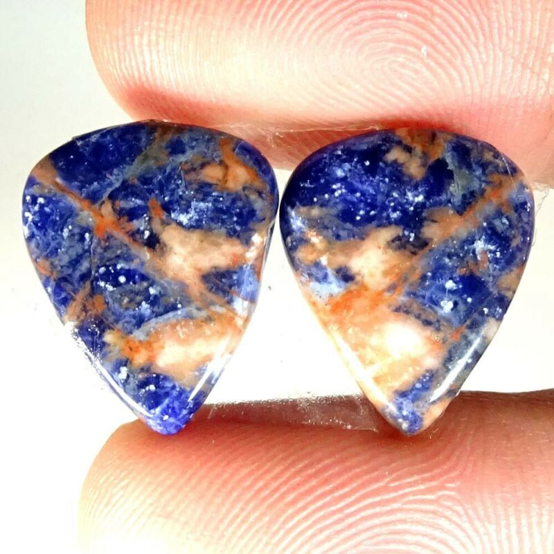 Natural Blue Sodalite Pear Cab Loose Matched Gemstone Pair 12.75Cts.