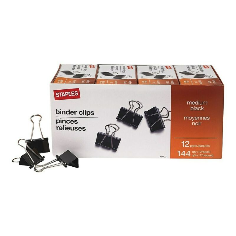"Staples Medium Binder Clips Bulk PK Blk 1 1/4"" Size with 5/8"" Capacity 144/PK"