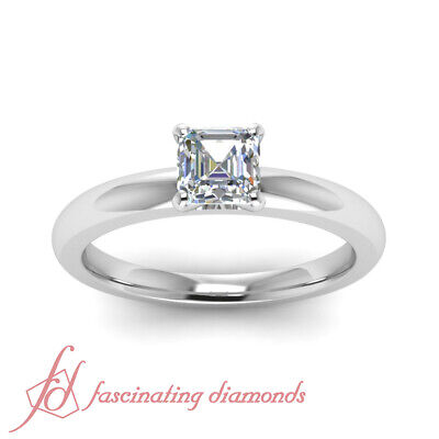 Affordable 0.33 Ctw Asscher Cut Solitaire Diamond Rings For Mothers GIA VVS2 1