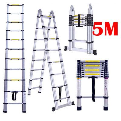 16.5ft Aluminium Ladders Telescoping Multi-purpose Extend Folding Ladder A Frame