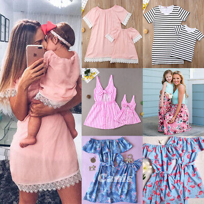 US Mother Daughter Family Matching Dress Mommy and Me Floral Maxi Dresses Outfit (Family Dresses)