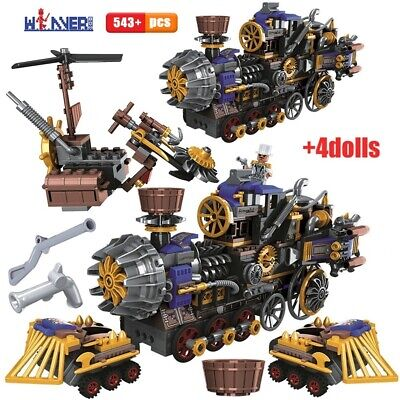 543pcs Creator the Age of Steam Trains Building Blocks City Car Brick Xmas Gift