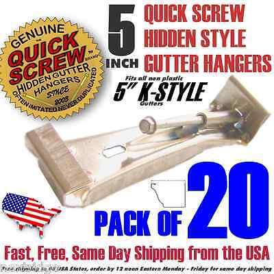 """20 5"""" inch Quick Screw Hidden Rain Gutter Bracket Hangers clip style Heavy Duty"""