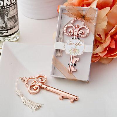 20 Rose Gold Vintage skeleton key bottle openers wedding party favors