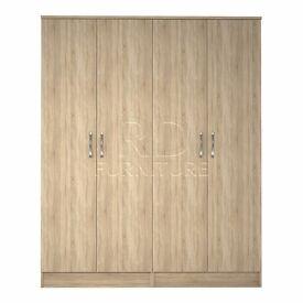 Beatrice 4 door wardrobe oak