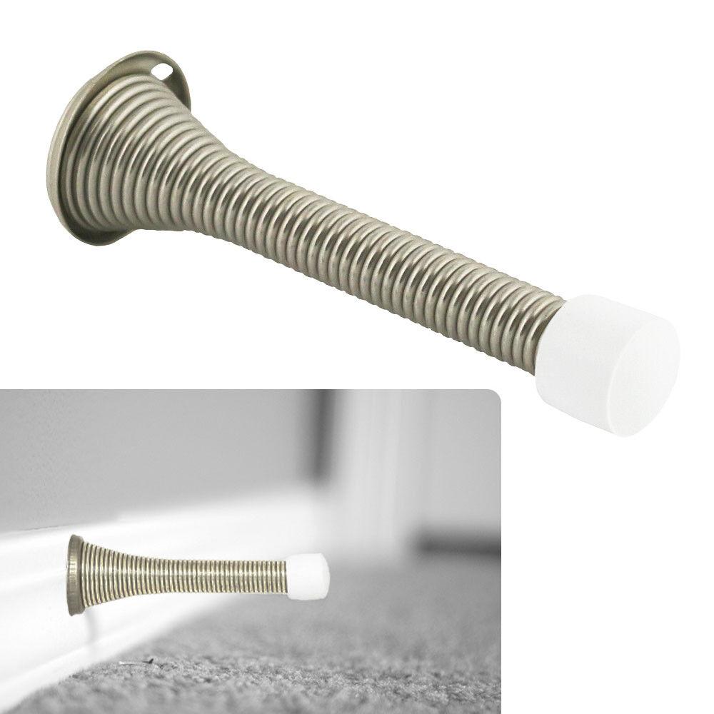 Flexible 3 1/8″ Spring Doorstop Door Stop Hardware and Packs, Satin Nickel Doorstops