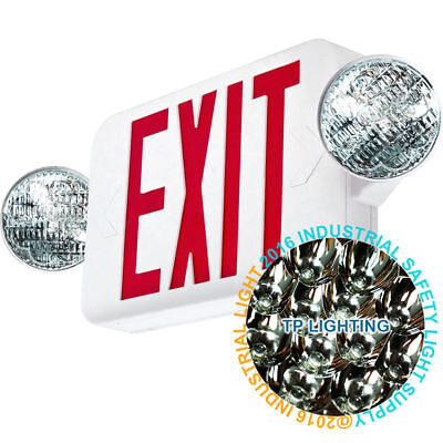 Led Exit Sign Emergency Light High Output - Red Compact Combo Ul Combo