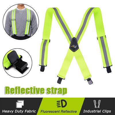 Green Color Reflective Suspenders Adjustable 2